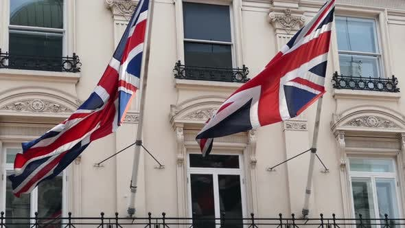Thumbnail for Two UK Flags On A Building