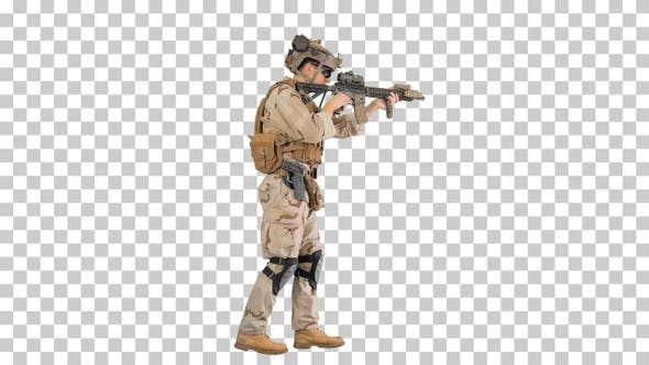 Soldier of special force walking and shooting, Alpha Channel
