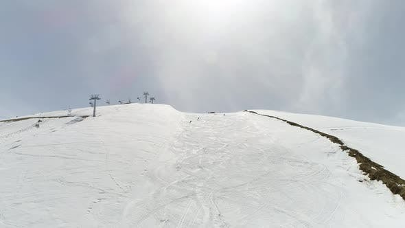 Thumbnail for Snowy Mountains And Skiers Aerial View