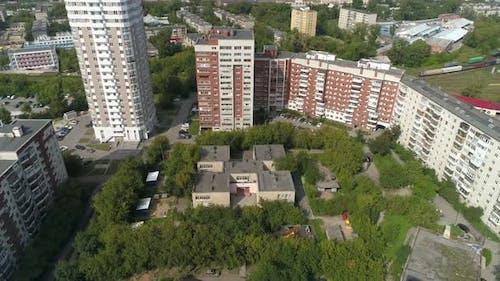 Aerial view of preschool building in big city 05