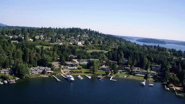 Thumbnail for Mercer Island Lake Washington Waterfront Real Estate Aerial