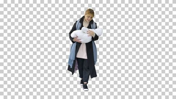Mother walking with baby in her hands, Alpha Channel