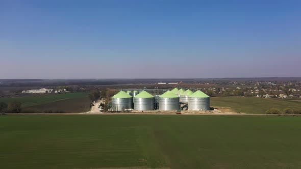 Aerial View of the Grain Silo's Elevator Near the Fields