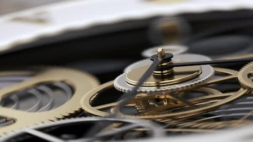 Watch and Cogwheel Mechanism with Rotating Arrow and Gears