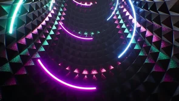 Curved Neon Lamp VJ Tunnel Loop 4K