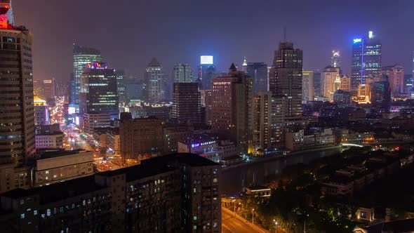 Thumbnail for Shanghai Urban Cityscape Aerial Skyline Panorama Timelapse at Night Zoom Out