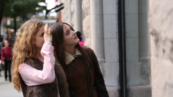 Thumbnail for Two young women window shopping
