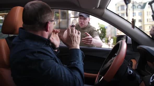 Thumbnail for Mugger with Gun Attacking Driver Sitting in Car