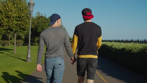 Thumbnail for Gay Couple at Romantic Date Walking Outdoors