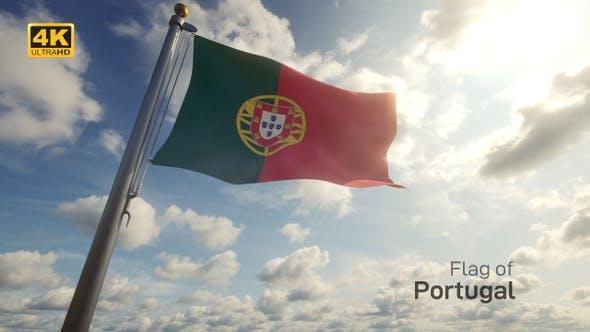 Portugal Flag on a Flagpole - 4K