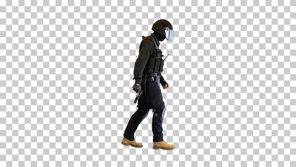 Counter terrorist squad fighter walking, Alpha Channel