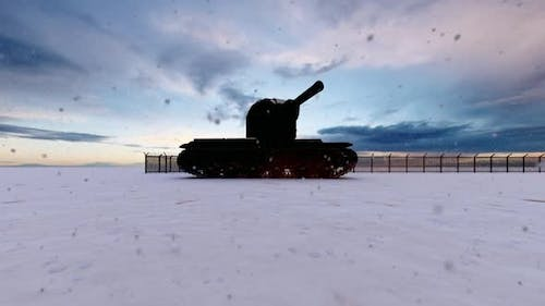 Soldiers and Tank on Watch in Military Watchtower in Snowy Weather
