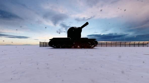 Thumbnail for Soldiers and Tank on Watch in Military Watchtower in Snowy Weather