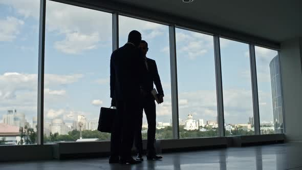 Thumbnail for Business People Walking in Office Building with Panoramic Windows