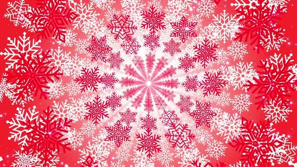 Thumbnail for 4k Red Snowflakes Seamless