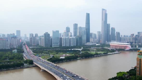 Cover Image for Large Guangzhou Street Highway and Bridge in China Timelapse