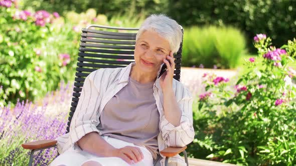 Thumbnail for Happy Senior Woman Calling on Phone at Garden