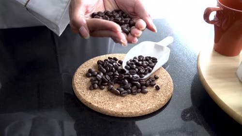 Young Barista Smelling Coffee Beans Laying on Table with Smiley