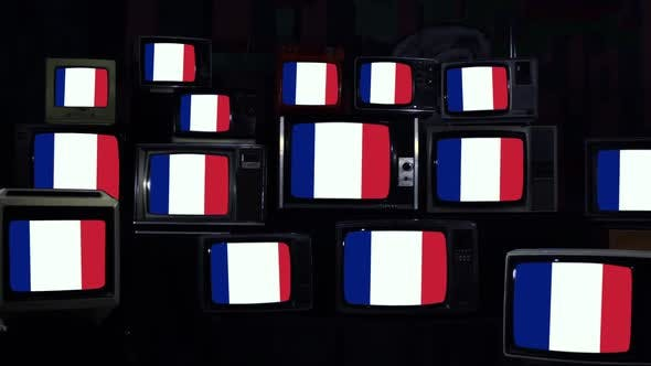 Flags of France on Retro TV Screens.