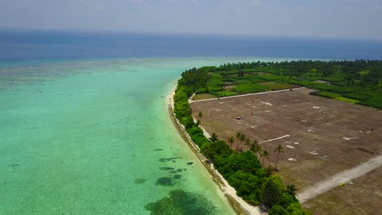 Thumbnail for Daytime drone travel shot of a sunshine white sandy paradise beach and blue ocean background in high