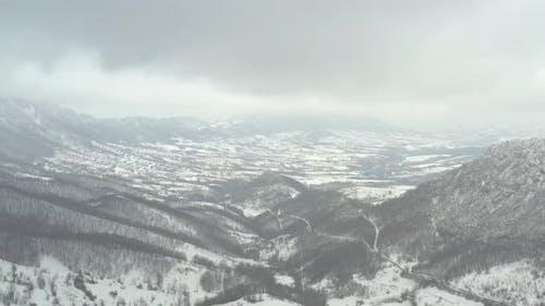 Part of Carpathian mountain ranges in Eastern Serbia by winter 4K drone video