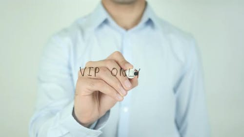 VIP Only, Man Writing on Screen