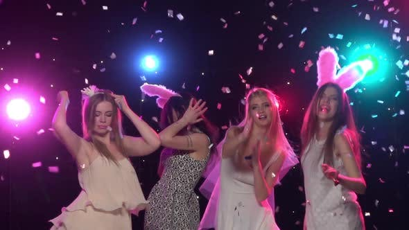Thumbnail for Girls at Bachelorette Party Dancing and Having Fun, Slow Motion