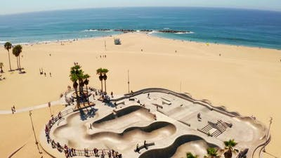 Aerial View of the Skate Park at the Venice Beach California
