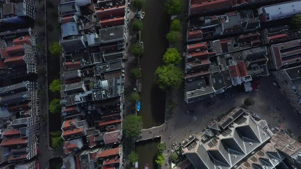 Thumbnail for Overhead Birds View of Cathedral and Canals in Amsterdam, Aerial Drone