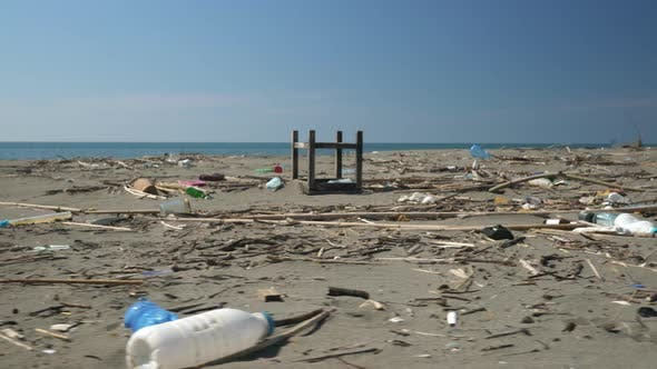 Beach Contaminated with Plastic and Other Rubbish