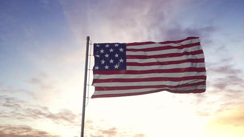 United States Flag Waving in the Wind