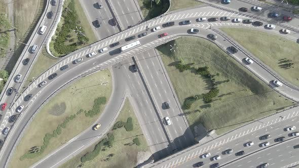 Kyiv. Ukraine: Road Junction. Aerial View, Flat, Gray
