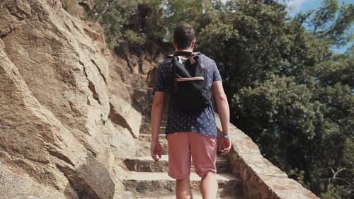 Toursit on Journey in Nature.
