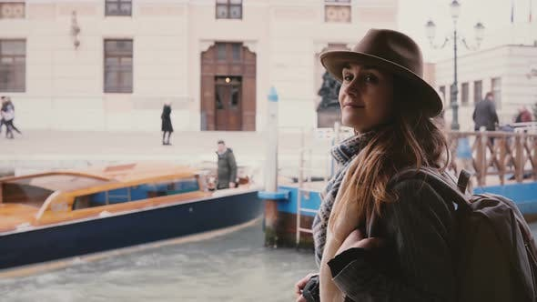 Thumbnail for Cinematic Shot of Happy Young Beautiful Tourist Woman Enjoying Atmospheric Boat Trip Along City