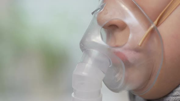 Thumbnail for Little Girl Child Sick Makes Inhalation Mask