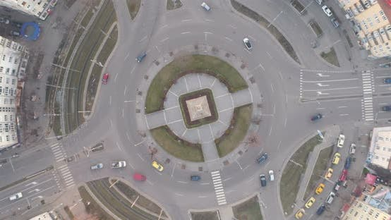 Cars Entering Road Junction Roundabout and Leaving It in Different Exits in Sofia, Bulgaria