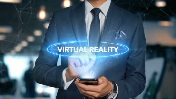 Thumbnail for Businessman Smartphone Hologram Word   Virtual Reality