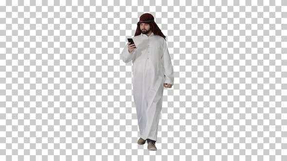Thumbnail for Arab man using his smartphone surfing, Alpha Channel