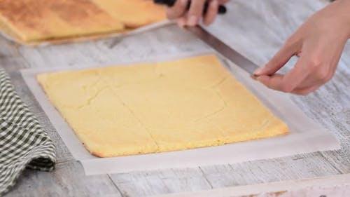 Cutting Sponge Cake on Layers.