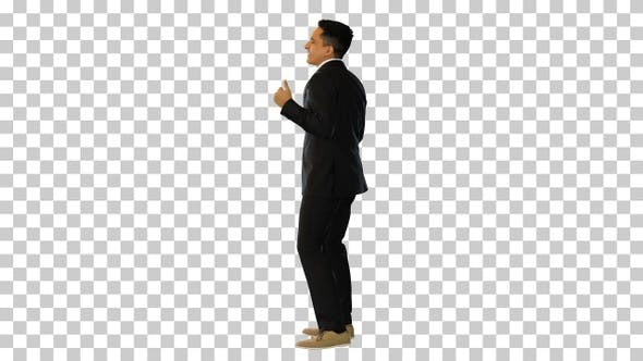 Cheerful and Happy Businessman Dancing, Alpha Channel