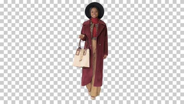 Beautiful african american woman walking, Alpha Channel
