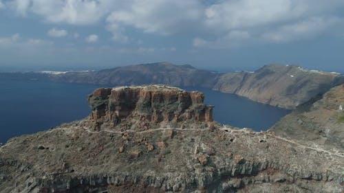 Flight Around the Rock of Skaros in Santorini