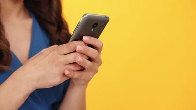 Mobile Communication Social Media Girl Hands Phone