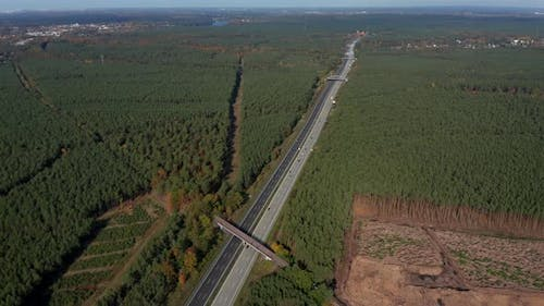 Long German Highway Autobahn in Between Forest Rural Landscape, Aerial View From Above
