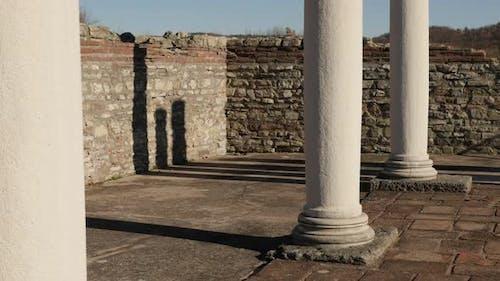 GAMZIGRAD, SERBIA - DECEMBER 25, 2017 Felix Romuliana palace columns  built by Roman Emperor Galeriu