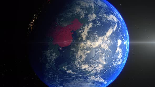 Realistic Earth Zoom Red Alert Highlight Country China