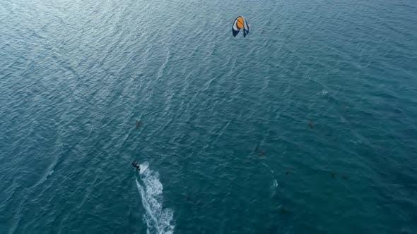 Kitesurfer at Sea