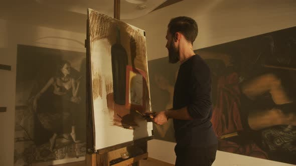 Thumbnail for Sketch artist working in his studio