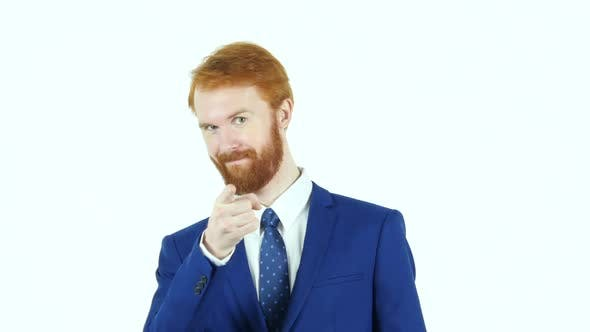 Thumbnail for Pointing at Camera, Red Hair Beard Businessman