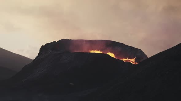 Molten Lava And Smoke Erupting From Fagradalsfjall Volcano